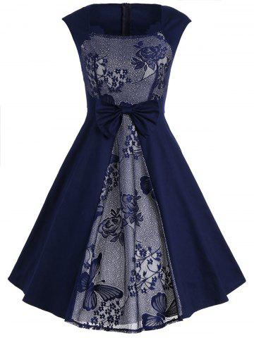 Bowknot Lace Panel Vintage Dress - Purplish Blue - M