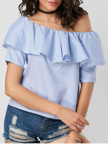 Store Flounce Pinstripe Smocked Blouse BLUE S