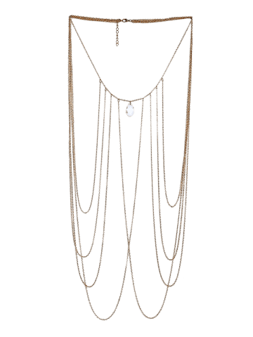 Outfits Artificial Crystal Fringed Teardrop Body Chain - GOLDEN  Mobile