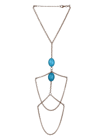 New Fake Turquoise Oval Arm Chain - GOLDEN  Mobile