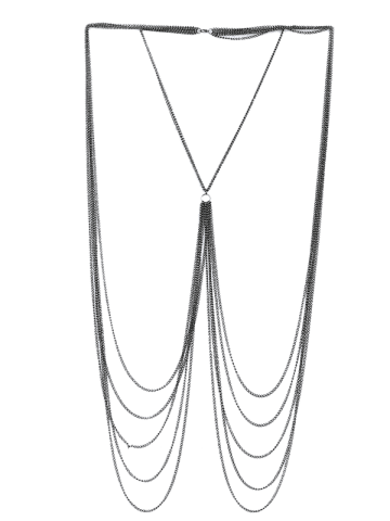 New Fringed Layered Chain Body Jewelry - SILVER  Mobile