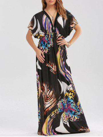 Latest Butterfly Print Empire Waist Boho Maxi Dress - L BLACK Mobile