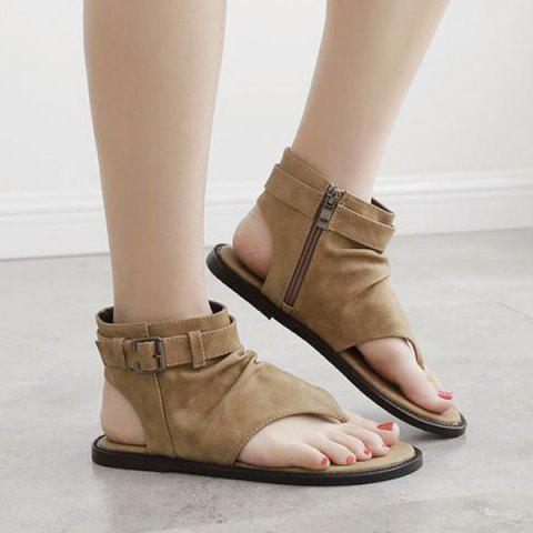Belt Buckle Zipper Flat Heel Sandals - Brown - 38