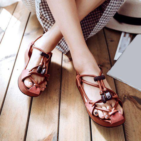 Wedge Heel Faux Leather String Sandals - Dark Auburn - 38