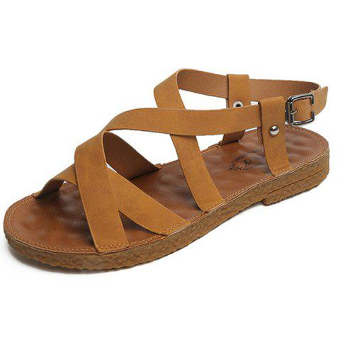 Affordable Flat Heel Cross Strap Sandals - 40 YELLOW Mobile