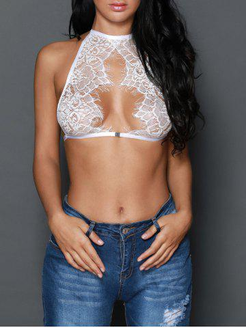 Halter Sheer Lace Crop Top Bra - White - S