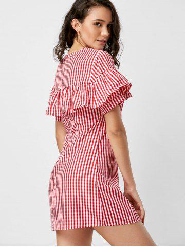 Discount Short Sleeve Ruffle Plaid Dress - S RED Mobile