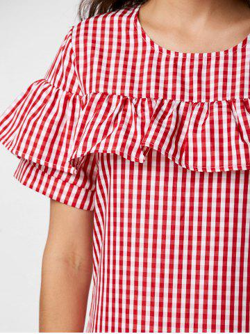 Buy Short Sleeve Ruffle Plaid Dress - S RED Mobile