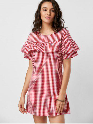 Online Short Sleeve Ruffle Plaid Dress - M RED Mobile