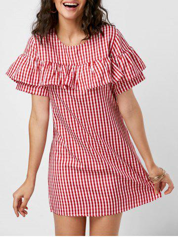 Shops Short Sleeve Ruffle Plaid Dress - M RED Mobile