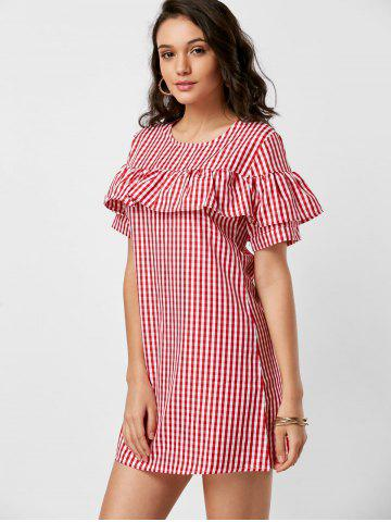 Buy Short Sleeve Ruffle Plaid Dress - L RED Mobile