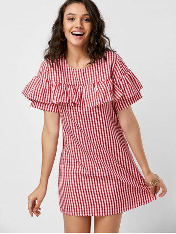 Discount Short Sleeve Ruffle Plaid Dress - XL RED Mobile