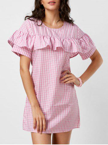 Discount Short Sleeve Ruffle Plaid Dress - S PINK Mobile