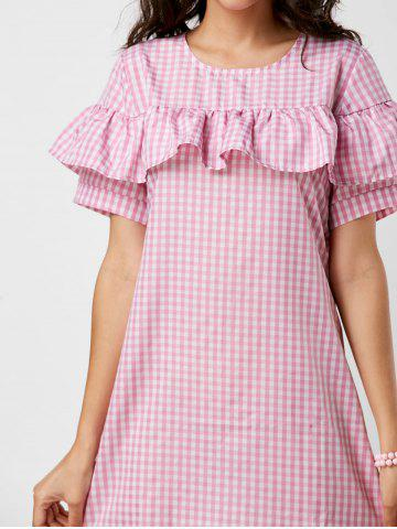 Sale Short Sleeve Ruffle Plaid Dress - S PINK Mobile
