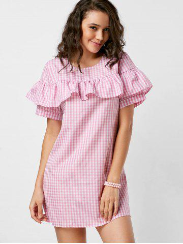 Hot Short Sleeve Ruffle Plaid Dress - S PINK Mobile