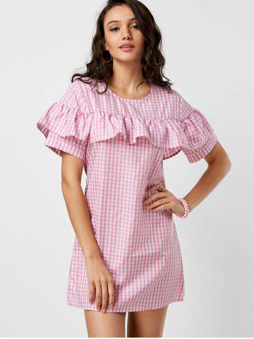 Buy Short Sleeve Ruffle Plaid Dress - S PINK Mobile