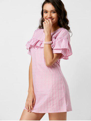 Fashion Short Sleeve Ruffle Plaid Dress - S PINK Mobile