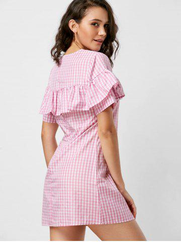 Shops Short Sleeve Ruffle Plaid Dress - S PINK Mobile