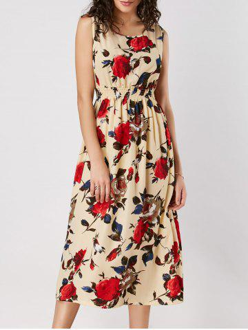 Sale High Waist Rose Print Sleeveless Dress YELLOW S