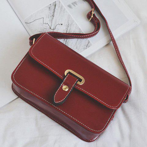 Shop Flap Stitching Crossbody Bag - RED  Mobile