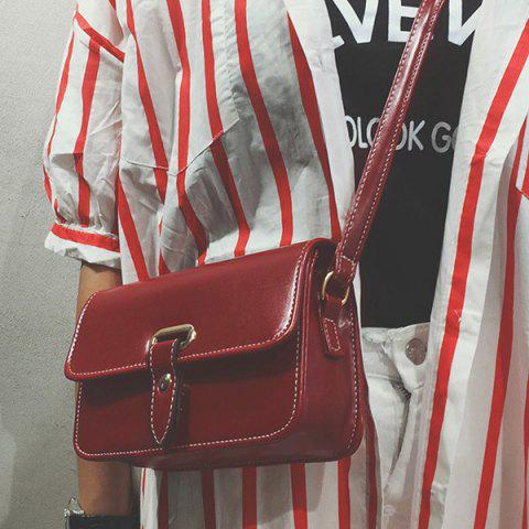 Trendy Flap Stitching Crossbody Bag - RED  Mobile