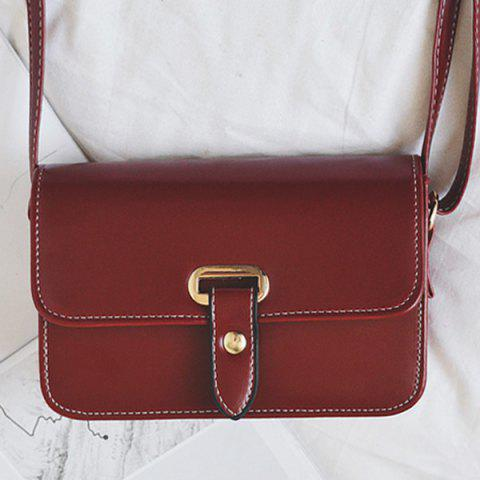 Online Flap Stitching Crossbody Bag - RED  Mobile