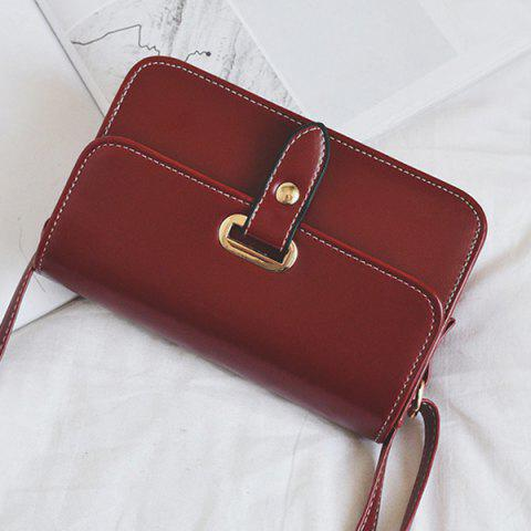 Hot Flap Stitching Crossbody Bag - RED  Mobile