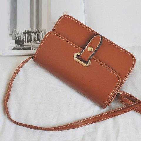 Sale Flap Stitching Crossbody Bag - LIGHT BROWN  Mobile