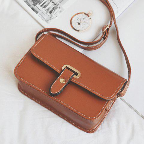 Hot Flap Stitching Crossbody Bag - LIGHT BROWN  Mobile