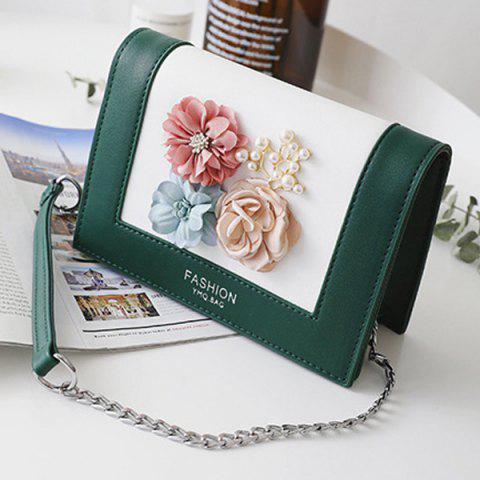 Unique Flowers Contrast Color Crossbody Bag - GREEN  Mobile