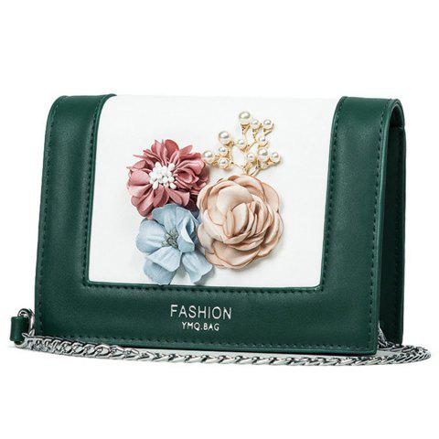 Fancy Flowers Contrast Color Crossbody Bag - GREEN  Mobile