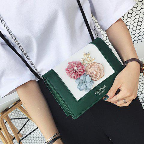 Buy Flowers Contrast Color Crossbody Bag - GREEN  Mobile