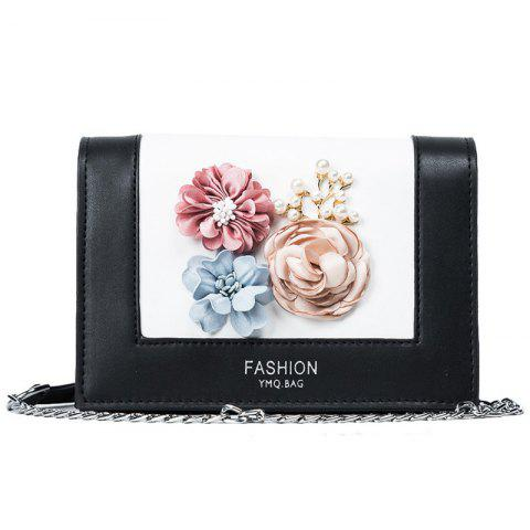 Store Flowers Contrast Color Crossbody Bag - BLACK  Mobile