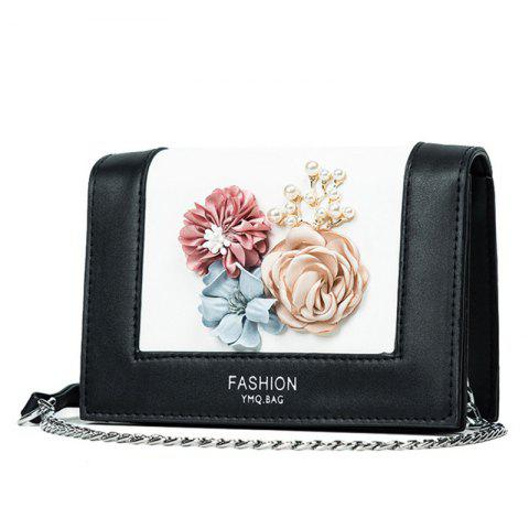 Buy Flowers Contrast Color Crossbody Bag - BLACK  Mobile