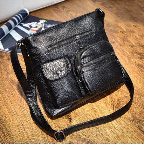 Cheap Front Pockets PU Leather Crossbody Bag - BLACK  Mobile