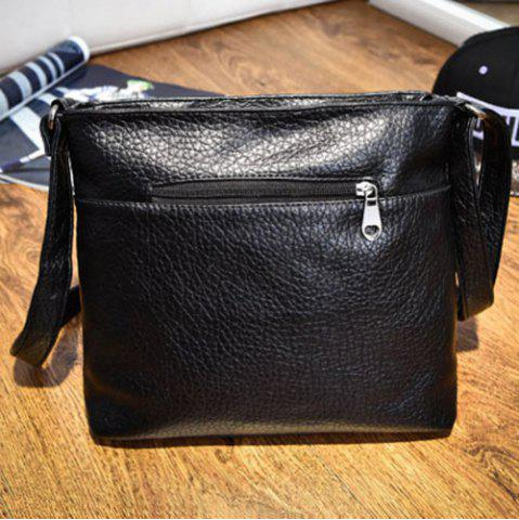 New Front Pockets PU Leather Crossbody Bag - BLACK  Mobile