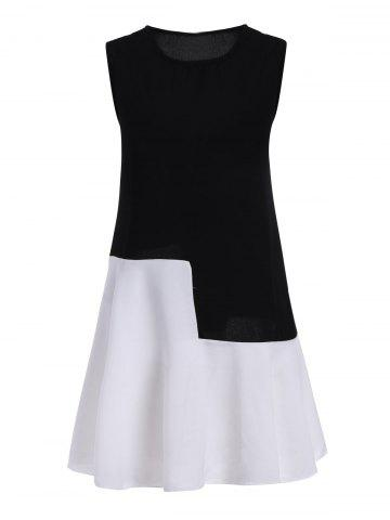 Trendy Plus Size Colorblock Mini Sleeveless Drop Waist Dress BLACK 4XL