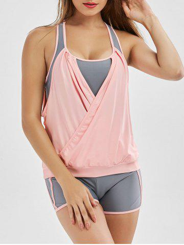 Outfits Two Tone Surplice Racerback Blouson Tankini Bathing Suit - 2XL PINK Mobile