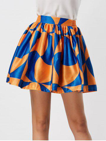 Printed High Waisted Ball Skirt - Blue And Orange - Xl