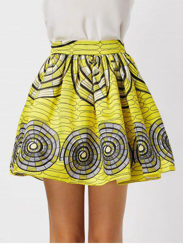 Printed High Waisted Ball Skirt - Yellow - Xl
