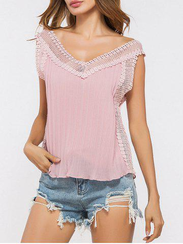 Buy V Neck Lace Panel Pleated Tank Top PINK ONE SIZE