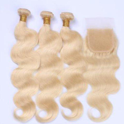 Online 3Pcs/Lot 6A Virgin Perm Dyed Body Wave Human Hair Weaves BLONDE 20INCH*20INCH*20INCH*CLOSURE 18INCH