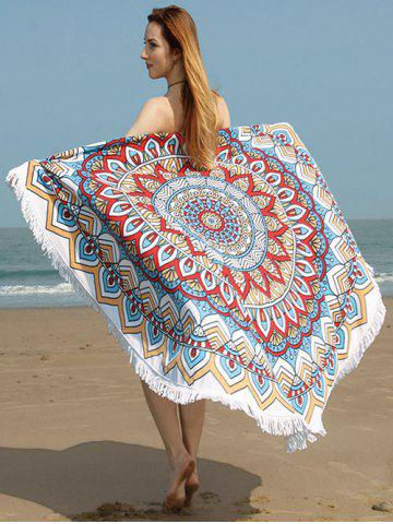 Tribe Flower Print Fringed Trim Beach Towel - Colormix - One Size
