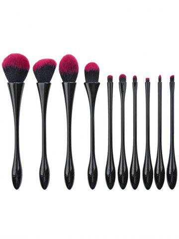 10Pcs Waisted Plated Fibre Hair Makeup Brushes Set - Black - Eu Plug
