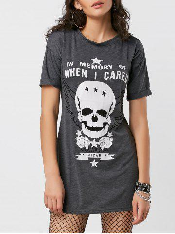 Shop Cuffed Sleeve Skull Graphic Mini Dress - S DEEP GRAY Mobile