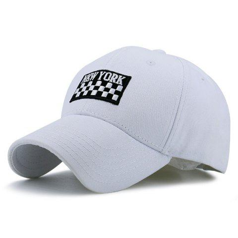 Discount New York Checked Embroidery Adjustable Baseball Hat WHITE