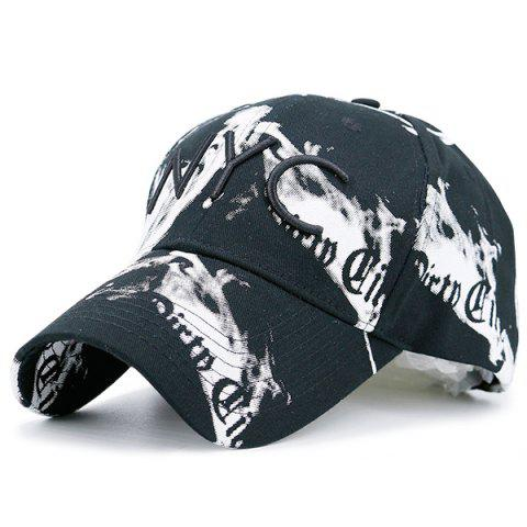 Affordable NYC Embroidery Smoke-Filled Print Baseball Hat BLACK