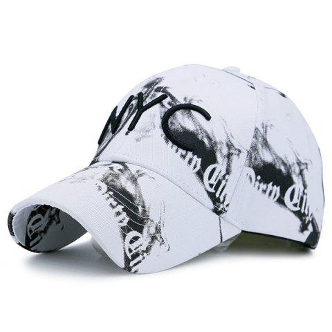 Unique NYC Embroidery Smoke-Filled Print Baseball Hat WHITE