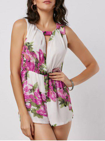 Online Sleeveless Cut Out Floral Print Romper WHITE S