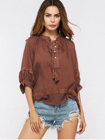 Outfits Lace Insert Tassels Sheer Oversized Top - ONE SIZE DEEP RED Mobile